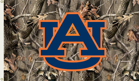 Auburn Tigers 3 Ft. X 5 Ft. Flag W/Grommets - Realtree Camo Background - Peazz.com