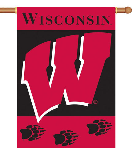 "Wisconsin Badgers 2-Sided 28"" X 40"" Banner W/ Pole Sleeve - Peazz.com"