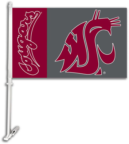 Washington State Cougars Car Flag W/Wall Brackett - Peazz.com
