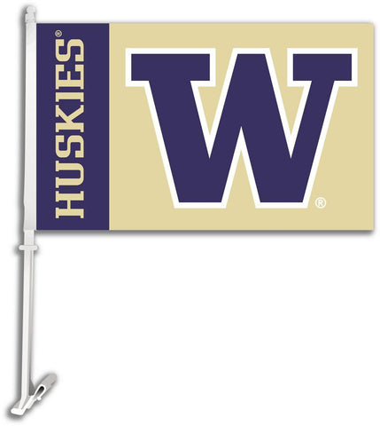 Washington Huskies Car Flag W/Wall Brackett - Peazz.com