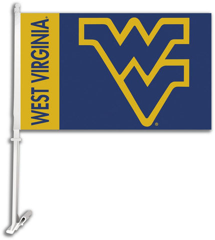 West Virginia Mountaineers Car Flag W/Wall Brackett - Peazz.com