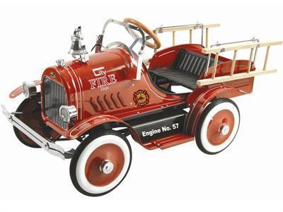 KALEE Deluxe Fire Truck Pedal Car Red - Peazz.com