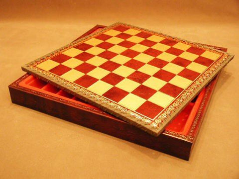"11"" Burgundy and Gold Pressed Leather Chess Board with Chest - Peazz.com"