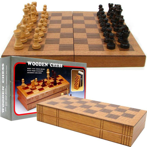 Chess Board Wooden Book Style w/ Staunton Chessmen - Peazz.com