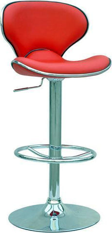 "Chintaly 0364-AS-RED Pneumatic Gas Lift Adjustable Height Swivel Stool - 25"" - 33.5"" - BarstoolDirect.com"