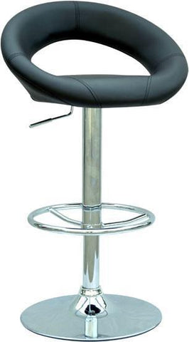 "Chintaly 0379-AS-BLK Pneumatic Gas Lift Adjustable Height Swivel Stool - 24.5"" - 33"" - BarstoolDirect.com"
