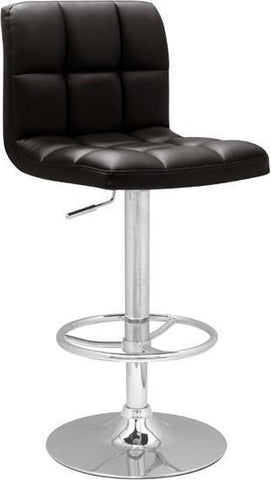 "Chintaly 0394-AS-BLK Stitched Seat & Back Pneumatic Gas Lift Adjustable Height Swivel Stool - 25"" - 33"" - BarstoolDirect.com"