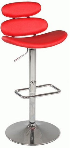 "Chintaly 0642-AS-RED Pneumatic Gas Lift Swivel Height Stool - 31.5"" - 41.34"" - BarstoolDirect.com"