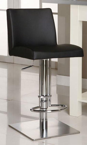 "Chintaly 0814-AS-BLK Pneumatic Gas Lift Adjustable Height Swivel Stool - 24"" - 33"" - BarstoolDirect.com"