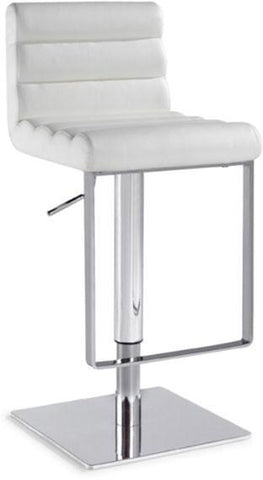"Chintaly 0830-AS-WHT Pneumatic Gas Lift Adjustable Height Swivel Stool - 24"" - 33"" - BarstoolDirect.com"