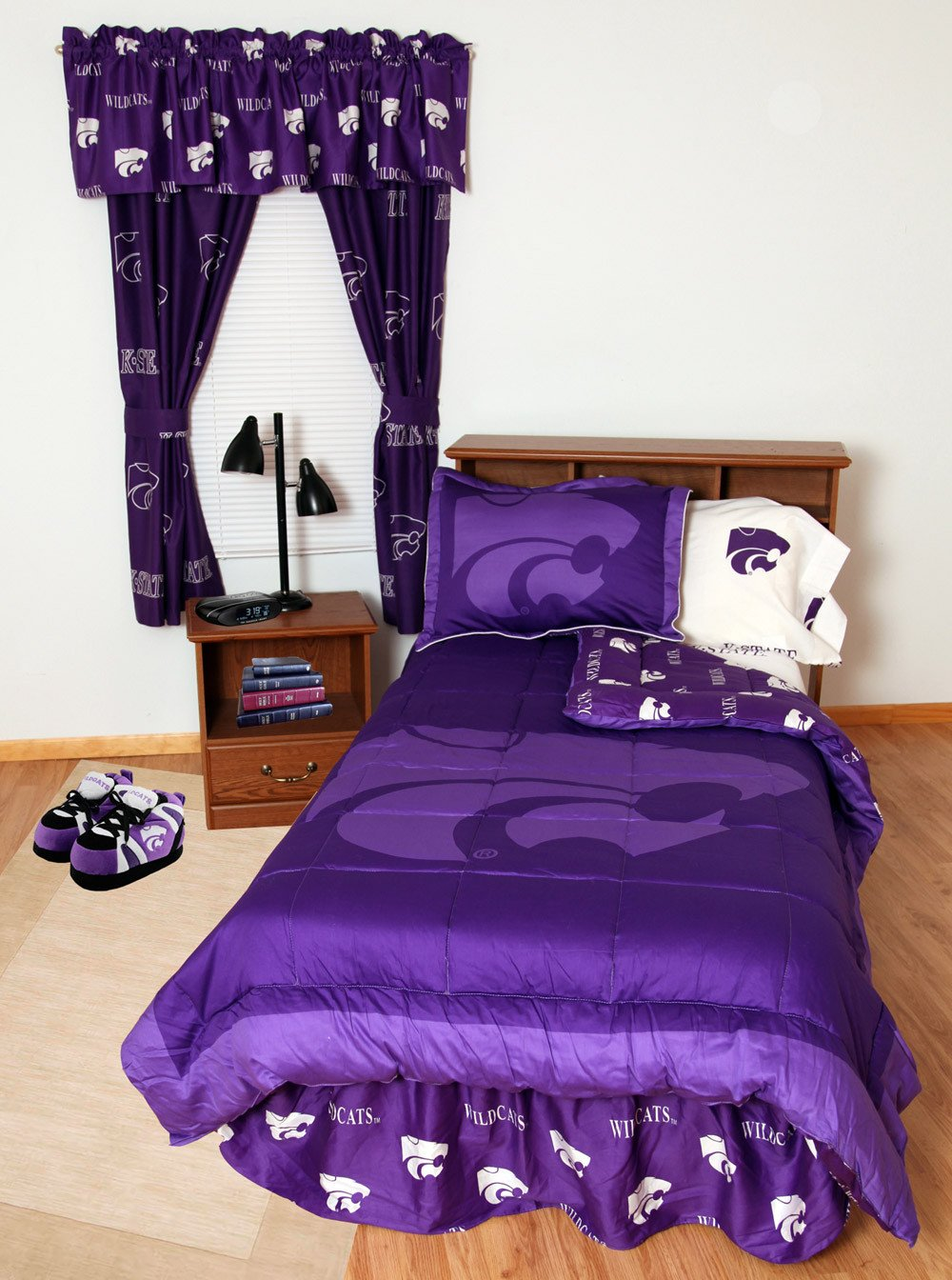 Kansas State Bed in a Bag Full - With White Sheets - KSUBBFLW by College Covers