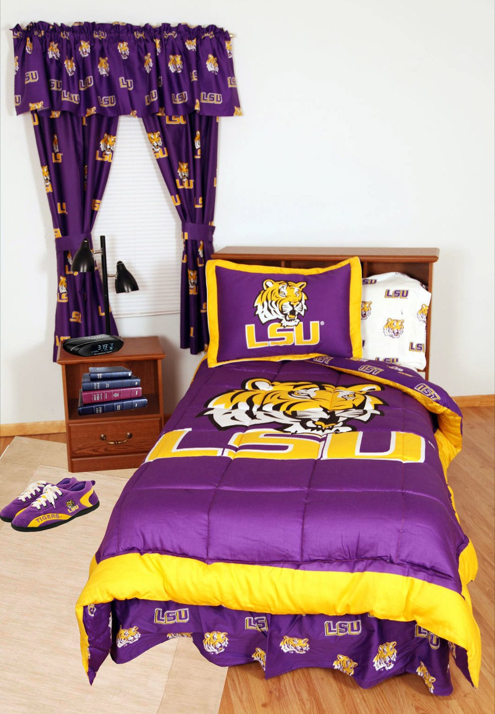 College | Sheet | Queen | Cover | White | LSU | Bed | Bag