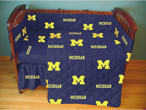 Michigan 5 piece Baby Crib Set  - MICCS by College Covers - Peazz.com