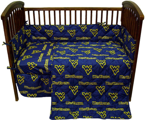 West Virginia 5 piece Baby Crib Set  - WVACS by College Covers - Peazz.com