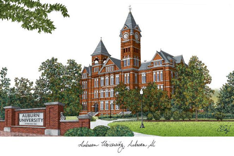 Auburn University Campus Images Lithograph Print - Peazz.com