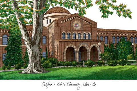 California State University, Chico Campus Images Lithograph Print - Peazz.com
