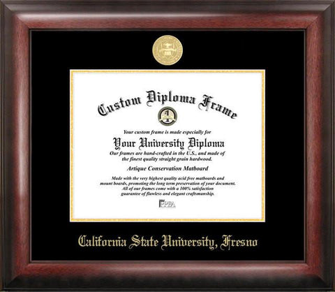 Cal State Fresno Gold Embossed Diploma Frame - Peazz.com