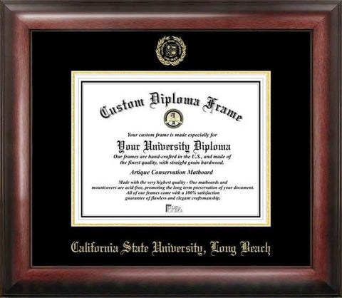 Cal State Long Beach Gold Embossed Diploma Frame - Peazz.com
