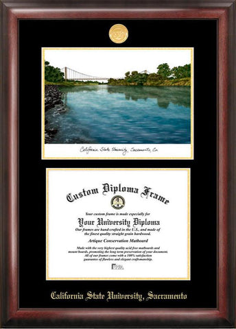 California State Sacremento University Gold embossed diploma frame with Campus Images lithograph - Peazz.com