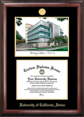 University of California, Irvine Gold embossed diploma frame with Campus Images lithograph - Peazz.com