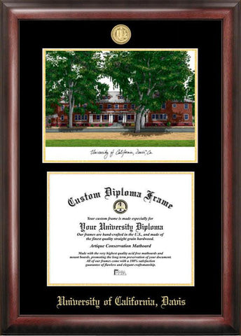 University of California, Davis Gold embossed diploma frame with Campus Images lithograph - Peazz.com