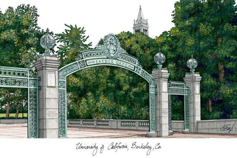 University of California, Berkeley Campus Images Lithograph Print - Peazz.com
