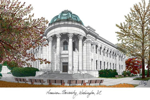 American University Campus Images Lithograph Print - Peazz.com