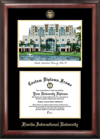 Florida International University Gold embossed diploma frame with Campus Images lithograph - Peazz.com