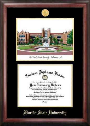 Florida State University Gold embossed diploma frame with Campus Images lithograph - Peazz.com