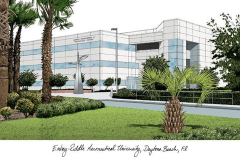 Embry-Riddle University Campus Images Lithograph Print - Peazz.com