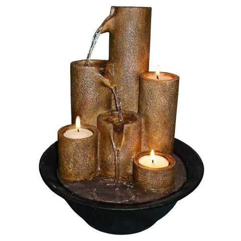 Alpine WCT202 Tabletop Fountain with Three Candles - Peazz.com
