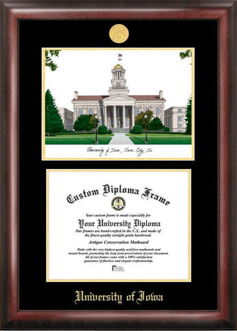 University of Iowa Gold embossed diploma frame with Campus Images lithograph - Peazz.com