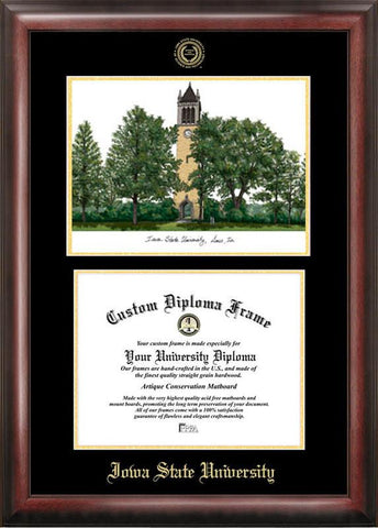 Iowa State University Gold embossed diploma frame with Campus Images lithograph - Peazz.com