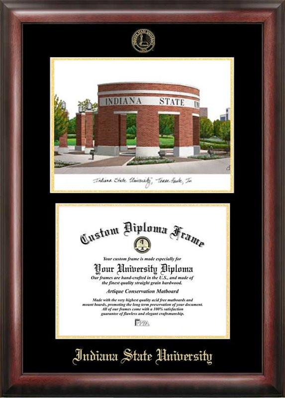 Indiana State Gold embossed diploma frame with Campus Images lithograph