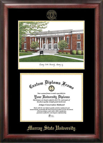 Murray State University Gold embossed diploma frame with Campus Images lithograph - Peazz.com