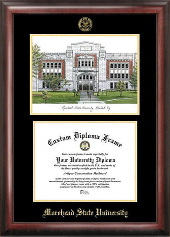 Morehead State UniversityGold embossed diploma frame with Campus Images lithograph - Peazz.com