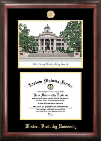 Western Kentucky UniversityGold embossed diploma frame with Campus Images lithograph - Peazz.com