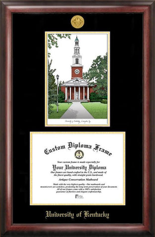 University of Kentucky Gold embossed diploma frame with Campus Images lithograph - Peazz.com