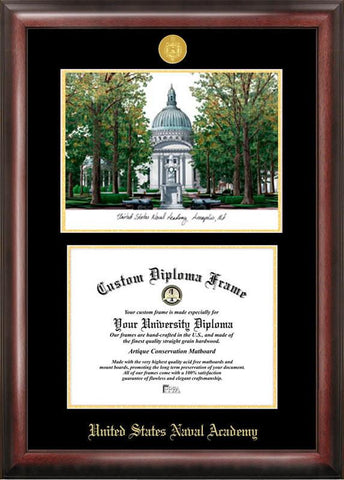 MIT Gold embossed diploma frame with Campus Images lithograph - Peazz.com