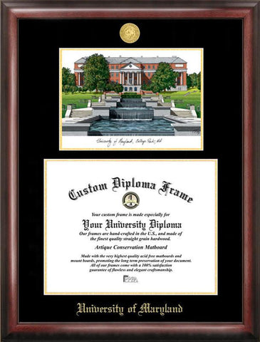 University of Maryland Gold embossed diploma frame with Campus Images lithograph - Peazz.com