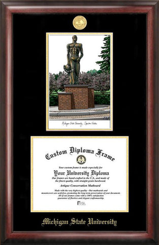 Michigan State University, Spartan, Gold embossed diploma frame with Campus Images lithograph - Peazz.com