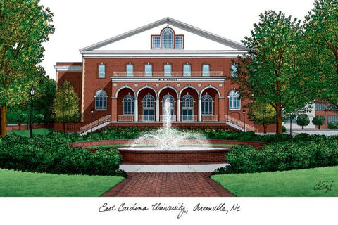 East Carolina University Campus Images Lithograph Print - Peazz.com