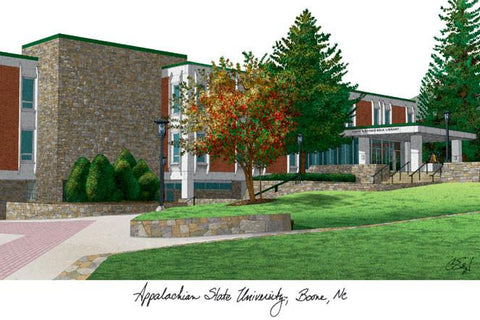 Appalachian State University Campus Images Lithograph Print - Peazz.com