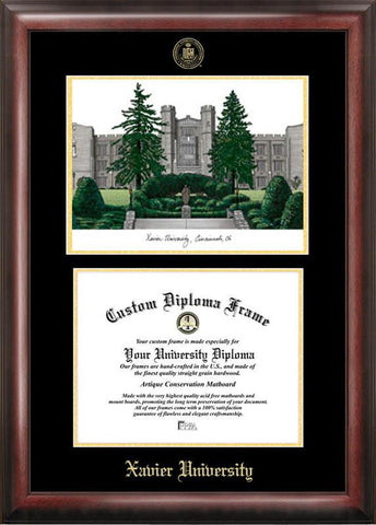 Xavier UniversityGold embossed diploma frame with Campus Images lithograph - Peazz.com