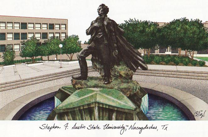 Stephen F Austin Campus Images Lithograph Print