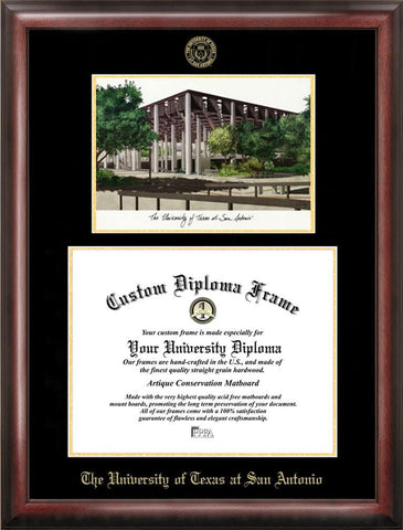 Abilene Christian University Gold embossed diploma frame with Campus Images lithograph - Peazz.com