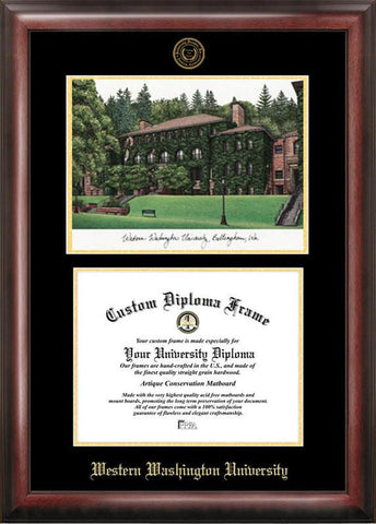 Western Washington UniversityGold embossed diploma frame with Campus Images lithograph - Peazz.com