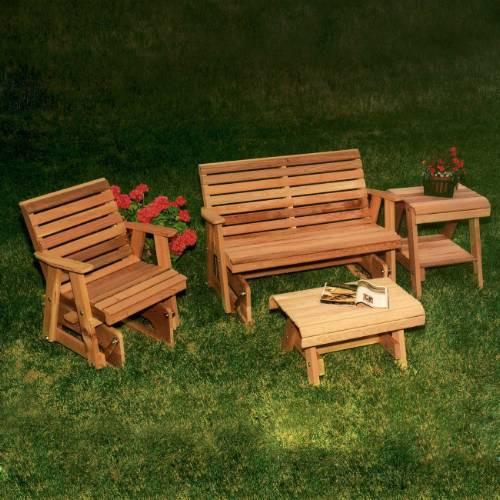 Rocking Classic Gliders Tables Set Cedar