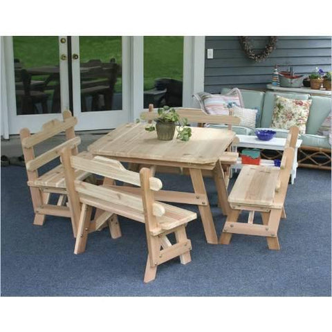 Creekvine Design WRFFSQDSCVD Cedar Four Square Dining Set - Peazz.com