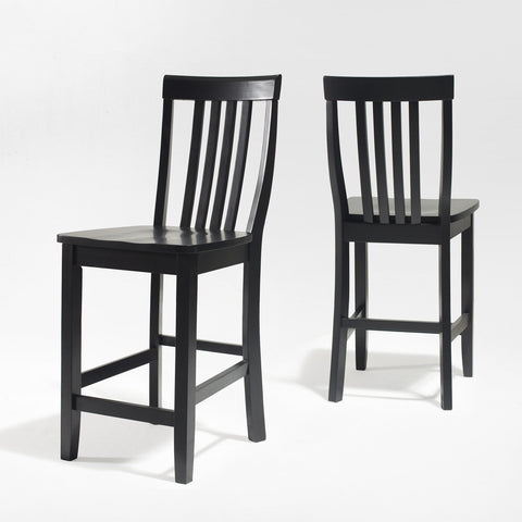 Bayden Hill CF500324-BK School House Bar Stool in Black Finish with 24 Inch Seat Height - Set of 2 - BarstoolDirect.com